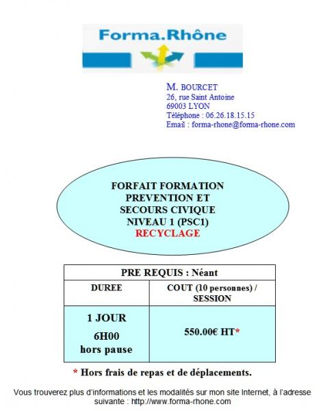 Forfait formation recyclage psc1